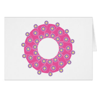 Purple Flowers On Pink Greeting Card
