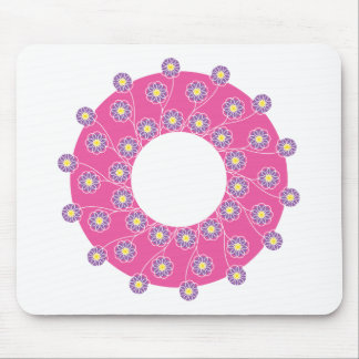 Purple Flowers On Pink Mouse Pads