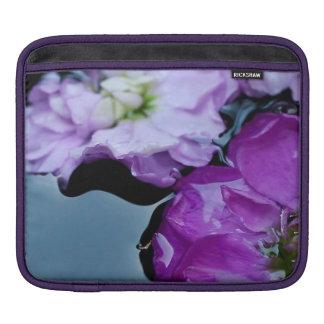 Purple flowers on pond sleeve for iPads