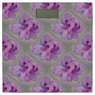 Purple Flowers on Silver Gray Weight Scale