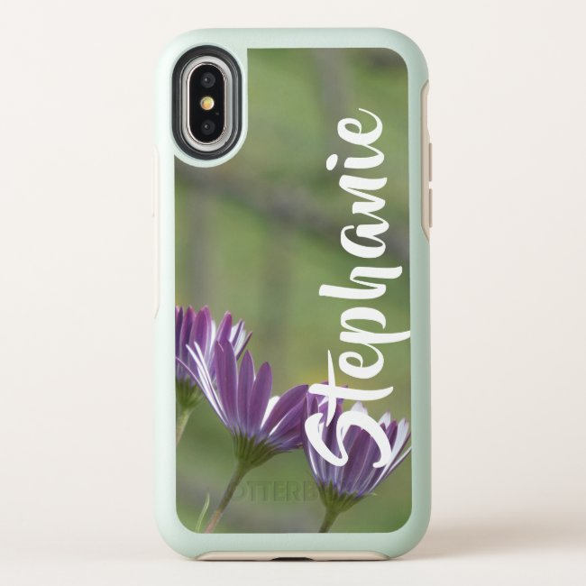 Purple Flowers Otterbox iPhone XS, XS Max, XR