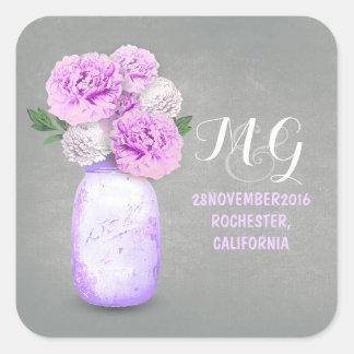 Purple flowers painted mason jar wedding stickers