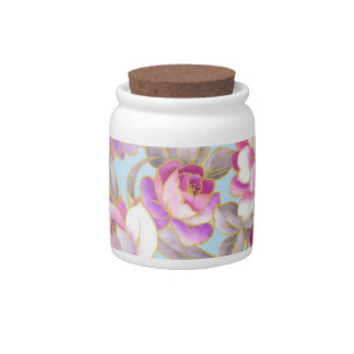 Purple Flowers Pattern Candy Jar