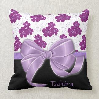 Purple Flowers Pattern Lavender Ribbon Throw Pillow