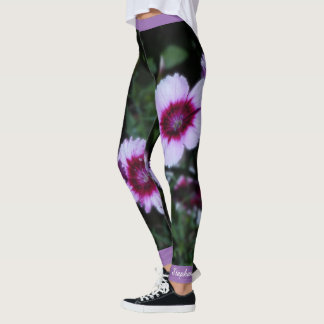 Purple Flowers, Personalized Name Leggings