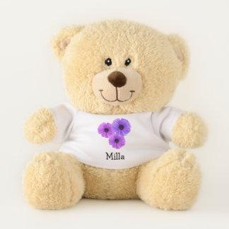 Purple Flowers Personalized Teddy Bear