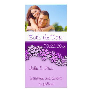 """Purple Flowers/photo  """"Save the Date"""" Personalized Photo Card"""