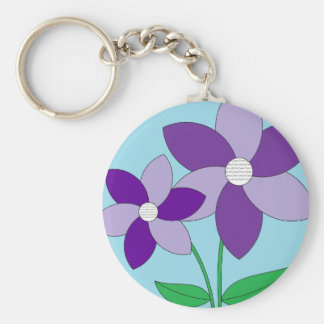 Purple Flowers Picture Keychain