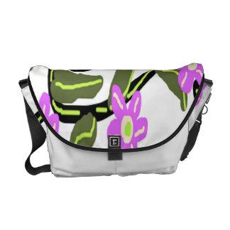 Purple Flowers Rickshaw Messenger Bag