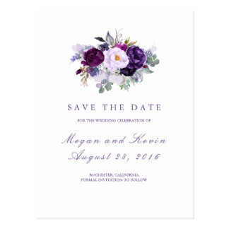 Purple Flowers Romantic Save the Date Postcard