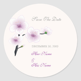 Purple Flowers Save The Date Classic Round Sticker