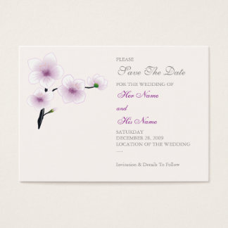 Purple Flowers Save The Date MiniCard Business Card