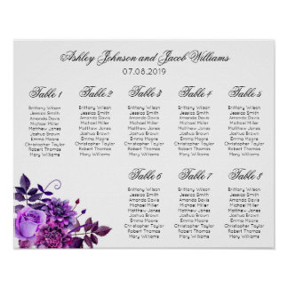Purple flowers seating chart print. Floral wedding