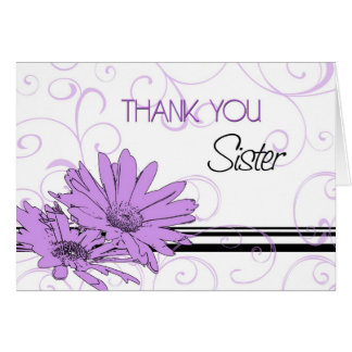 Purple Flowers Sister Thank You Bridesmaid Card