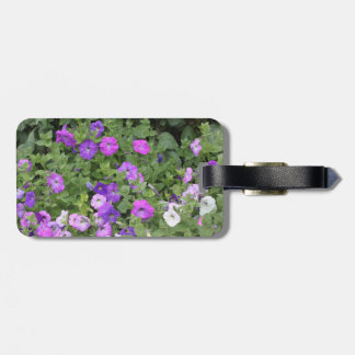 Purple Flowers Spring Garden Theme Petunia Floral Bag Tag