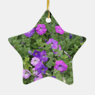 Purple Flowers Spring Garden Theme Petunia Floral Ceramic Ornament