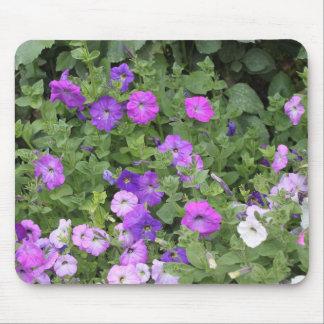 Purple Flowers Spring Garden Theme Petunia Floral Mouse Pad
