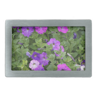 Purple Flowers Spring Garden Theme Petunia Floral Rectangular Belt Buckle
