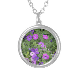 Purple Flowers Spring Garden Theme Petunia Floral Silver Plated Necklace