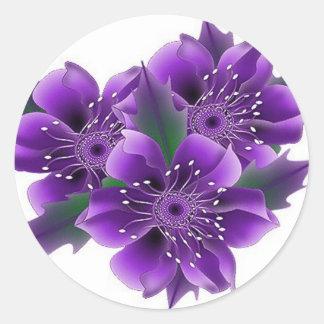 purple flowers round sticker