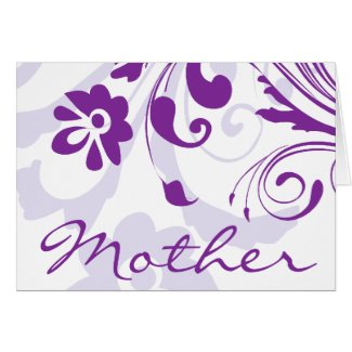 Purple Flowers Swirls Mother's Day Card