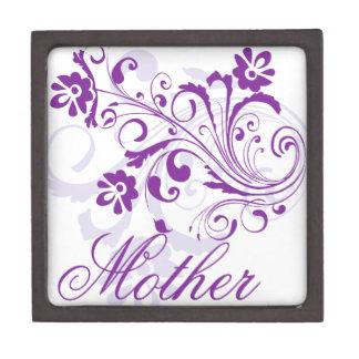 Purple Flowers Swirls Mother's Day Premium Jewelry Boxes