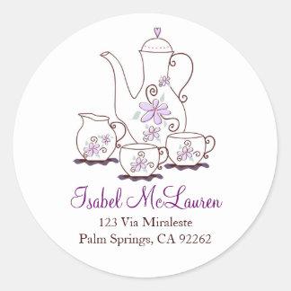Purple Flowers Tea Set Address Labels