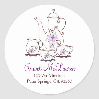 Purple Flowers Tea Set Address Labels Classic Round Sticker