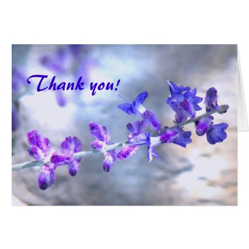 purple flowers thank you card zazzle