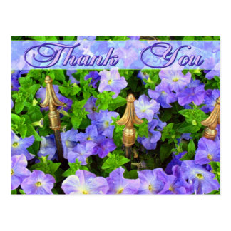 purple flowers thank you postcard