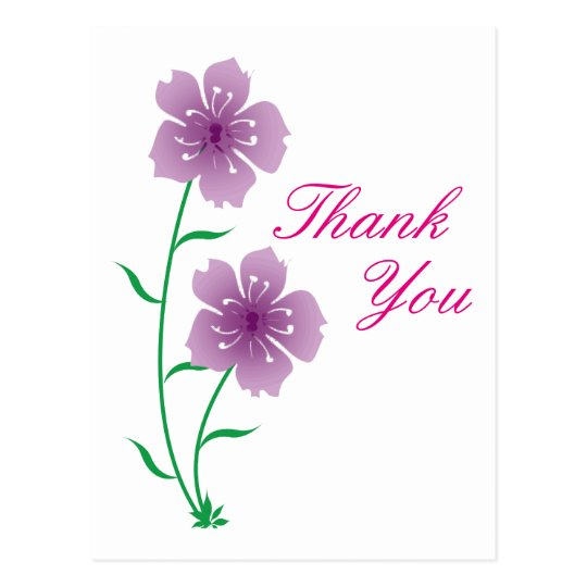 purple flowers thank you postcard zazzlecom