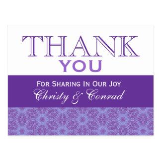 Purple Flowers Thank You Wedding G201 Post Card