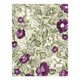 Purple Flowers Violets Background Leafy Floral Flyer