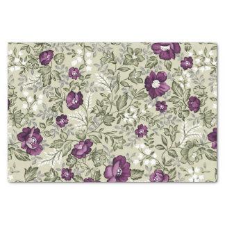 Purple Flowers Violets Background Leafy Floral Tissue Paper