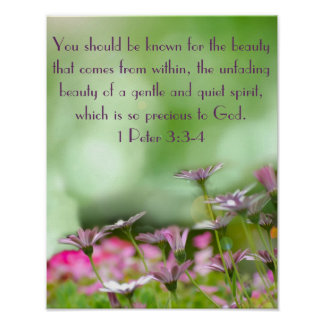 Purple flowers w/ bible verse 1 Peter 3:3-4 Poster