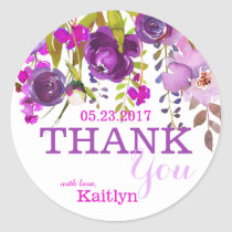 Purple Flowers Watercolor Floral Thank You Classic Round Sticker
