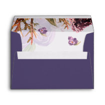 purple flowers watercolor wedding envelopes