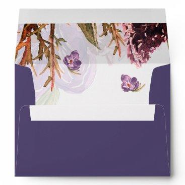 purple flowers watercolor wedding envelopes