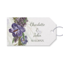 Purple Flowers Watercolor Wedding Gift Tag