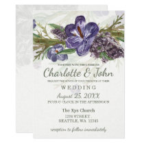 purple flowers watercolor wedding invitations