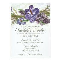 purple flowers watercolor wedding invitations