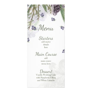 purple flowers watercolor wedding menu