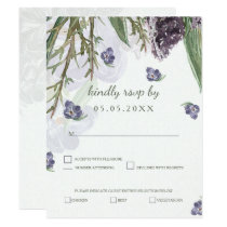 purple flowers watercolor wedding rsvp card