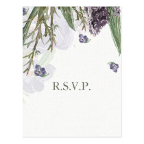 purple flowers watercolor wedding rsvp postcard