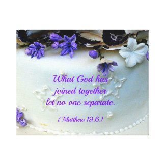 Purple flowers wedding cake with Bible verse Canvas Print
