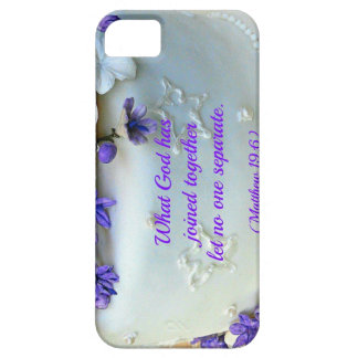 Purple flowers wedding cake with Bible verse iPhone SE/5/5s Case