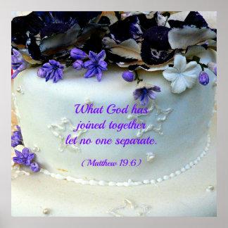 Purple flowers wedding cake with Matthew Bible Poster