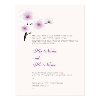 Purple Flowers Wedding Invitation Postcard