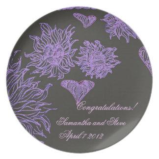 Purple Flowers Wedding Rehearsal Dinner Plate