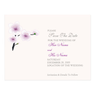 Purple Flowers Wedding/Save The Date Card
